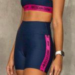 short cintura alta dark blue and pink – Tamanho: P-2089001424