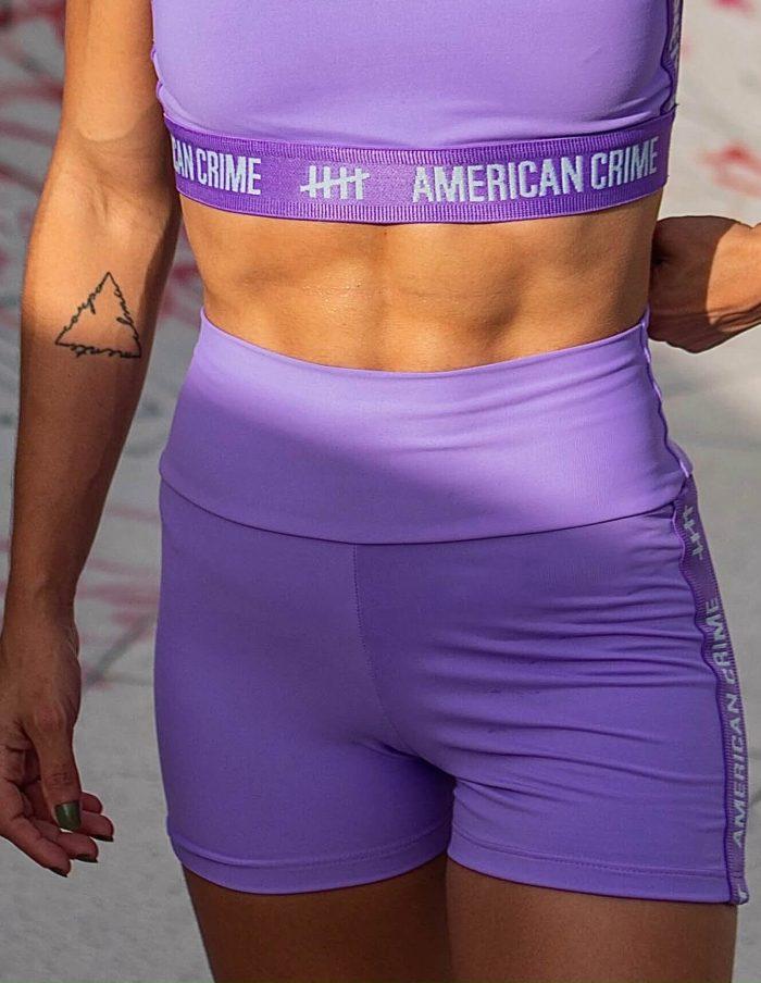 Short cintura alta fitness lavender and purple