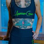 short amrc writing black and gray with green-1866338956
